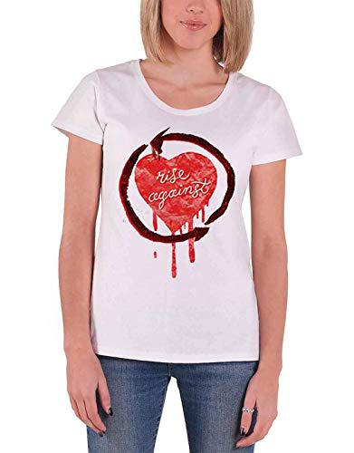 Rise Against T Shirt Rough Heart band logo Nue offiziell damen Weiß Skinny Fit