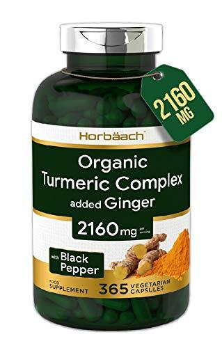 Organic Turmeric Curcumin 2160mg | 365 Capsules | High Strength Complex + Black Pepper & Ginger | Non-GMO, Gluten Free & Vegetarian | by Horbaach
