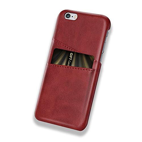 Desconocido Funda iPhone 6 Plus / 6S Plus, Funda Tarjetero Slim de Piel Sintética Vintage con 2 Ranuras para Tarjetas/DNI Cubierta Simple Fácil de Instalar para iPhone 6 / 6S (iPhone 6 / 6S, Rojo)