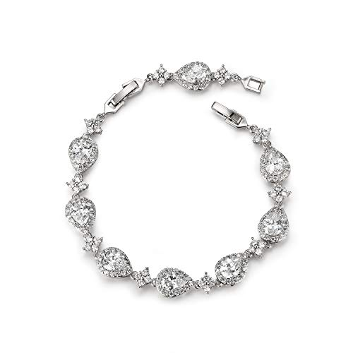 SWEETV Wedding Teardrop Bracelets for Brides Bridesmaids, Crystal Cubic Zirconia Bridal Bracelets for Women Prom, Silver