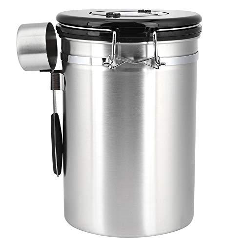 Recipiente para granos de café, recipiente hermético para granos de café de acero inoxidable, recipiente para almacenamiento de frutas secas, 1.8L