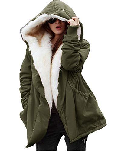 Womens 7XL Thick Faux Fur Coat Big Hooded Parka Overcoat Winter Furs Coat Jacket (5XL, Blue)