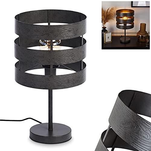 Lámpara de mesa Maracoa, 1 bombilla de metal en níquel envejecido/negro, diseño moderno, lámpara de mesa con interruptor en el cable, 1 bombilla E27 máx. 40 W