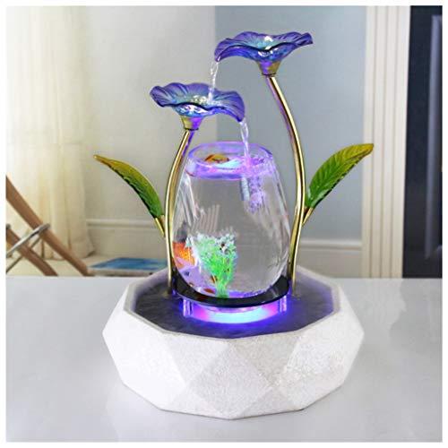 crapelles - Fuente de Loto Azul para decoración de Interior de Acuario, humidificador de relajación Zen, meditación para pecera, Moderno, de Metal Dorado, Parte Inferior de Anillo de Cristal Negro