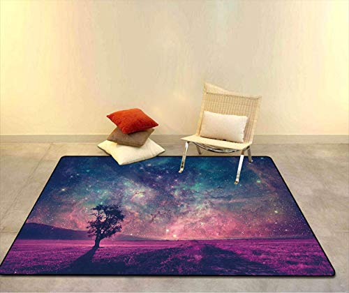 Space Decor Doormat Floor Mat, Red Alien Landscape with Alone Tree Silhouette in Purple Field Photo Low Profile Absorbent Door Mat, 20' W x 31' L