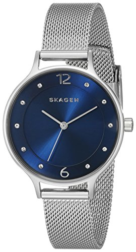 Skagen Women's Anita Quartz Stainless Steel Mesh Watch, Color:Silver-tone, 12 (Model: SKW2307)