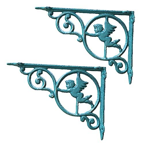 YUNYI 2 Pack Shelf Brackets Cast Iron, Retro Angel Wall Mounted Decorative Shelves, Green, 9.2 X 6.8 X 1.4 Inches,Load-bearing 55 Lbs/24 Kg