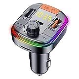 JZLPY Transmisor De FM, Bluetooth Transmisor FM para Coche Adaptador De Radio Manos Libres Mp3 Mechero Coche con USB Dual Y Carga Rápida Qc3.0 Reproductor De Música