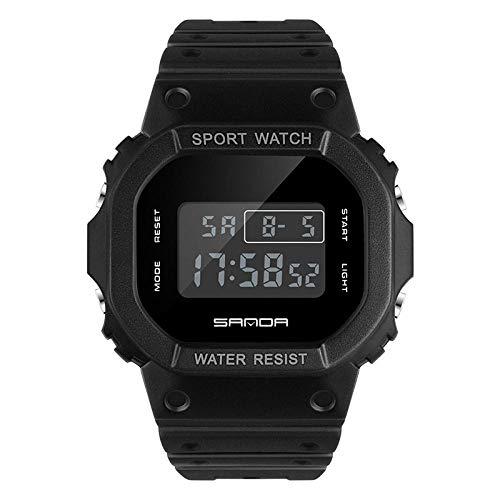 SANDA Relojes De Pulsera,Reloj Deportivo Impermeable electrónico Multifuncional Cuadrado Nuevo Reloj de Pareja de Tendencia de Moda para Estudiantes jóvenes-Negro Completo