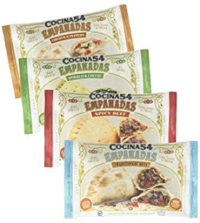 Cocina 54 - Empanadas Sampler Pack, 4oz, 20 Pack (5 of each), All-Natural, Made From Scratch, Grab & Go, Gluten-Free