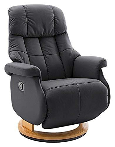 Robas Lund Sessel Leder Relaxsessel bis 130 Kg TV Sessel, Relaxer Fernsehsessel Echtleder schwarz, Calgary Comfort L
