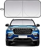 Car Windshield Sun Shade, fit for Most Sports Car Truck SUV Vans, Blocks UV Rays Sun Visor Protector, Foldable Car Front Window Sunshade Heat Shield Reflector Cover