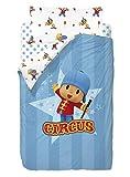 Zinkia Pocoyo Circus Saco nórdico de 2 Piezas para Cama de 90 cm, Mezcla De Algodón, Multicolor, 25x90x190 cm