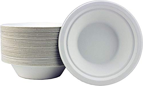 Goodlife Sugarcane White Paper Bowls - 50 Pack of Extra Strength Bagasse Disposable Bowls - Eco-Friendly, Biodegradable and Compostable - Perfect Non Plastic Alternative Serving Dishes