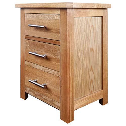 Comodino in legno di quercia, con finitura laccata in rovere chiaro,...