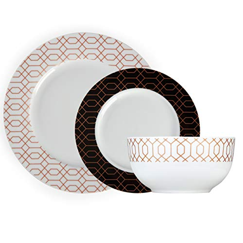 Tower T867000WHT - Juego de vajilla (12 piezas, porcelana), diseño geométrico moderno, oro rosa