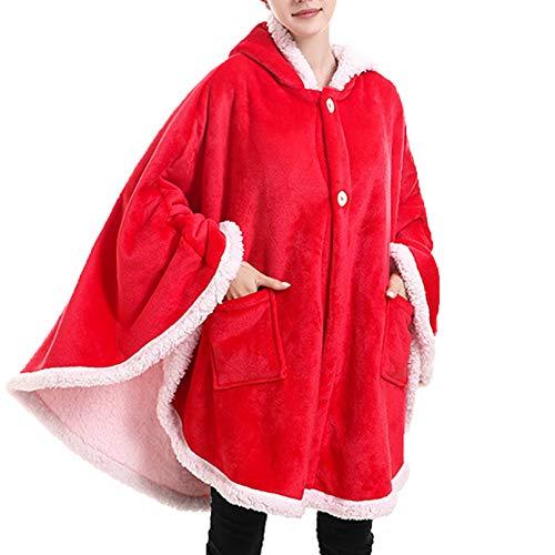 BNMKL Mujer Manta con Capucha Súper Suave Acogedor Manta De Mantón, Manta De TV Ropa De Casa con Bolsillo Doble para Adultos Casa,Rojo