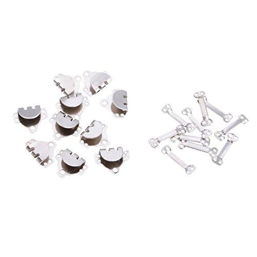 10 Sätze Hosenhaken Verschluss für Hose, Kleider, Röcke, Pullover, etc. zu reparieren - Silber, 17 x 14 x 4 mm