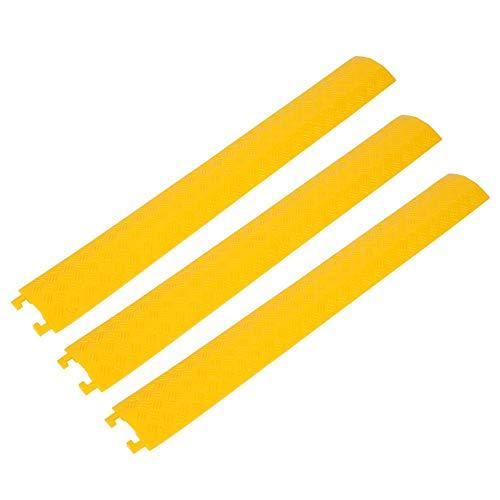 lyrlody Gummikabelschutz, 3er Pack für 1-Kanal Kabelbinder Schutz Kabelbrücke Überfahrschutz Kabelschutzrampe Bodenschwelle Boden-Kabelabdeckung 95 x 13 x 1,6 cm (Gelb)