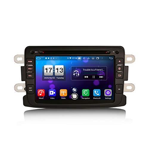 ERISIN 7 Zoll Android 10.0 Autoradio für Renault Dacia Duster Sandero Dokker Logan Lodgy Unterstützt GPS-Navi Carplay Android Auto DSP Bluetooth A2DP DVB-T/T2 WiFi DAB+ 8-Kern 4GB RAM+64GB ROM