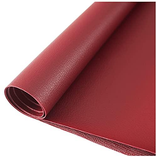 NIUFHW Piel sintética impermeable y resistente al desgaste de una sola pieza = 1,38 m x 0,5 m, adecuado para hacer pendientes de cuero, arcos de manualidades (color: rojo oscuro)
