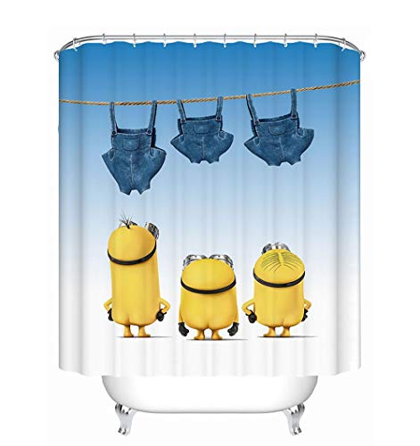 JANRON Minions Duschvorhang Anti-schimmel Wasserabweisender Eva Badewanne Vorhang Nicht Gerüche BPA-frei Antibakteriell Duschvorhang aus Stoff - 150CM /180CM / 200CMX200CM