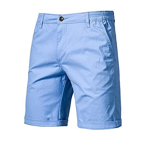 Pantalones Cortos de Verano Hombres Casual Negocio Cintura Hombres Pantalones
