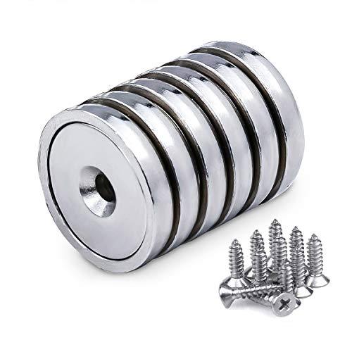 Magnete al Neodimio 6 pezzi, Magneti a Foro Svasato con 43 kg di tiro Magneti Neodimio con viti di montaggio, Diametro 32 x 6 mm