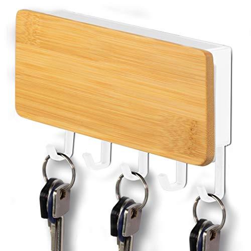 ITALNIC Llavero de pared Organizador de almacenamiento para llavero Portacartas de pared en madera y tablero de ABS con estante Contenedor 18 x 10 x 3 cm Decoración de pared 3 colores… (Nuez Claro)
