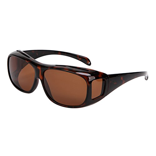 Solarfun Polarized Fit Over Glasses Sunglasses Wrap Around Solar Reduce Shield for Men and Women's Driving, Brown