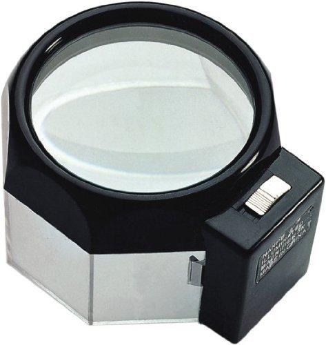 Goldiflora Optics MG 13104supporto lente d' ingrandimento con luce/ingrandimento 4x/85mm Diametro Lente/lente di vetro doppia, 11mm di spessore con/batterie/assemblato e pronto per l' uso/con 1x Panno in microfibra/1Bottiglia di Detergente speciale 30ml