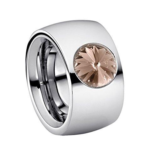 Heideman Ring Damen Coma 14 aus Edelstahl Silber farbend poliert Damenring für Frauen mit Stein Kristall grau im Fantasie Edelsteinschliff 10mm