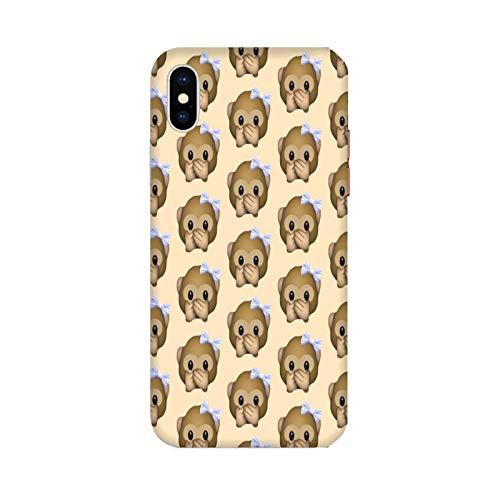 Funda iPhone X Carcasa Compatible para Apple iPhone X Whatsapp Emoticon de Mono pequeño no Habla/Gel de Silicona Suave TPU/Teléfono Hard Snap on Antideslizante Antideslizante Antiarañazos Resis