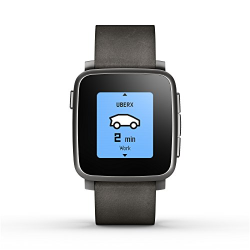 Pebble Time Steel Smartwatch for Apple Android Devices - Black