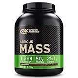 Optimum Nutrition Serious Mass Proteina en Polvo, Mass Gainer Alto en Proteína, con Vitaminas, Creatina y Glutamina, Chocolate, 8 Porciones, 2,73kg, Embalaje Puede Variar