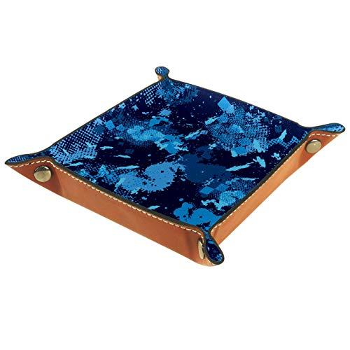 XiangHeFu Bandeja de Cuero Patrón Deportivo de Camuflaje Azul Almacenamiento Bandeja Organizador Bandeja de Almacenamiento Multifunción de Piel para Relojes,Llaves,Teléfono,Monedas