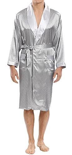 Panegy Herren 2-Teiliges Set Kimono Langarm Satin Seide Robe Nachtwäsche V Ausschnitt Bademantel mit Shorts Gürtel