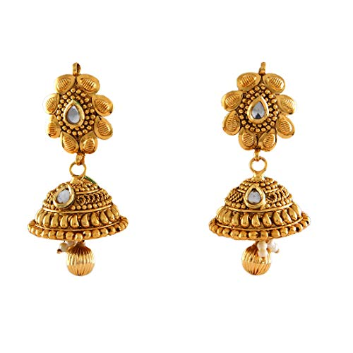 Suryagems Marvellous Jhumki Earrings Gold Plated White CZ Studded Traditional Baali Kundal Jewellery for Women Girls Ladies ME 25
