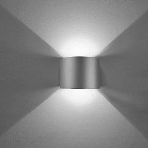 ETiME LED Wandleuchte außen Wandlampe Wasserdicht mit einstellbar Abstrahlwinkel IP65 LED Wandbeleuchtung Kaltweiß (Rund Grau 7W)