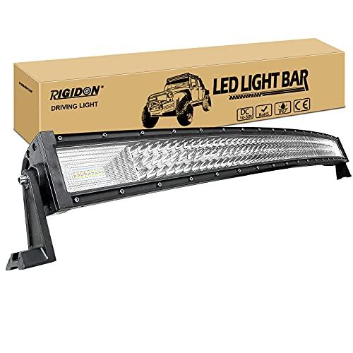 RIGIDON Curvada Barra de luz led, 12V 24V 42 pulgadas 540W, 7D Tri fila Barras luminosas led para off road camión coche ATV SUV 4x4 barco, Foco Inundación Combo, lámpara de conducción 6000K