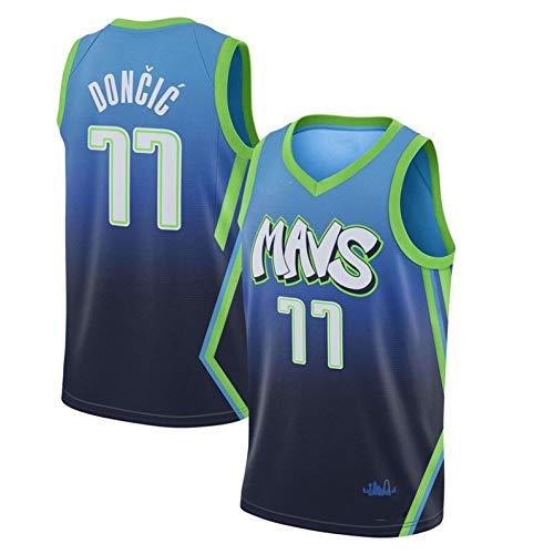 ZZH NBA Dallas Mavericks #77, Luka Dončić Sports NBA-Trikot, Basketball Uniformen Für Erwachsene ärmellose Unisex-Trainingssportkleidung,Colormixing 1-XXL