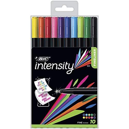 BIC Intensity Fineliner, Filzstifte in 10 verschiedenen Farben, mit feiner Spitze, für Bullet Journal und Mandala
