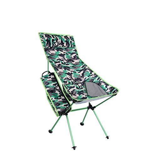 Outdoor Aluminiumlegierung Tarnung Falten Strand Stuhl multifunktions Berg Camping Freizeit Stuhl Lange Klappstuhl Lehnstuhl (Farbe : Green)