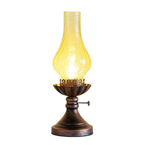 HONGOU Tischlampe Vintage Petroleumlampe Glasschirm Industrie E27 Fassung Antik Design Schreibtischlampe Wohnzimmerlampe Schlafzimmerlampe Schreibtisch Leselicht Rost Rot