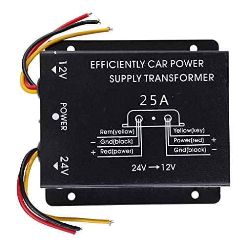YOURPAI Transformador negativo, fuente de alimentación de coche transformador de 24 V a 12 V convertidor 10/15/20/25/30 A componentes electrónicos + metal