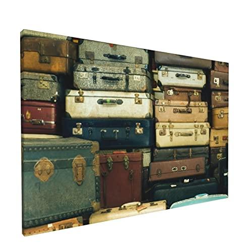 PATINISA Painting Stampe su Canvas Un sacco di vecchie valigie vintage Quadri per L'Ufficio Domestico Decorazione Moderna 45x30cm