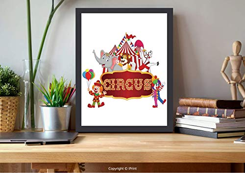 AmorFash №16060 Wooden Framed Wall Art,Circus Decor,Cute Happy Fun Trained Circus Animals with Nostalgic Tent Carnival Party Show Art,Red White, Best for Gifts