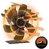 Ventilador de estufa con termómetro 6 aspas ventilador de estufa de aire caliente, chimenea negra, respetuoso con el medio ambiente, ventilador silencioso para estufa de madera,、