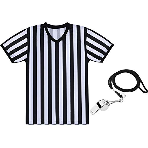 SATINIOR Men's Official Uniform Black and White Stripe Pro-Style V-Neck Referee Shirt, Officiating Umpire Jersey and Stainless Steel Whistle with Lanyard for Basketball Football Soccer (L)