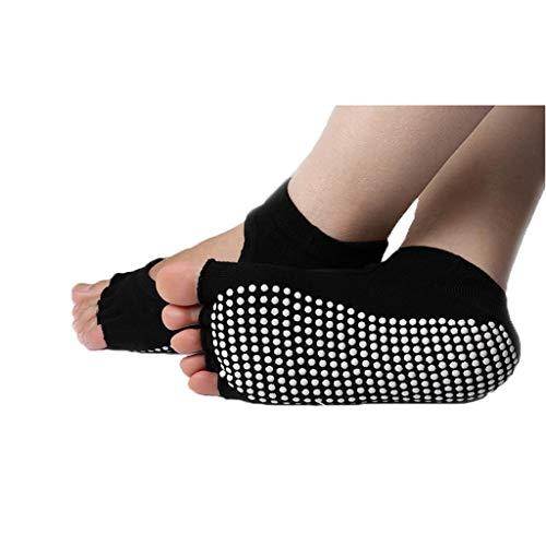 GDSSX Dedo del pie con Punta Abierta Mujer Calcetines Calcetines Antideslizante Yoga Absorber el Sudor Espesar Fitness Transpirable aplicable en otoño e Invierno Mantener Seco (Color : Black B)